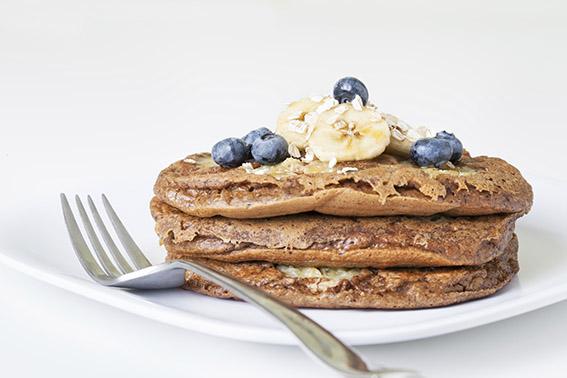 Banana Blueberry Oatmeal Pancakes