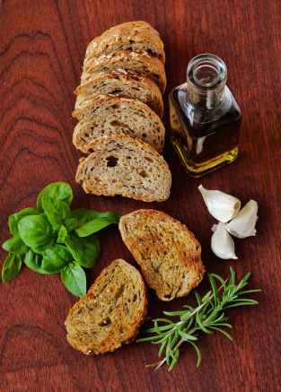 bottle bread food garlic