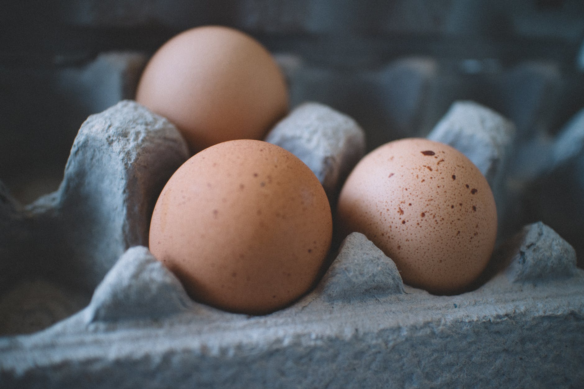 selective focus photo of three eggs on tray